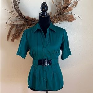 Apt 9 belted green peplum style button down